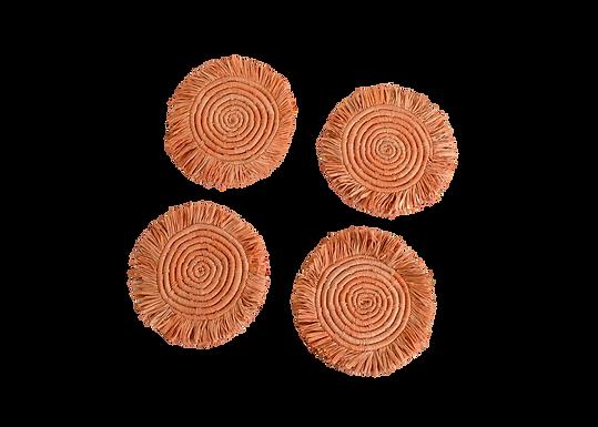 Peach Fringed Coasters