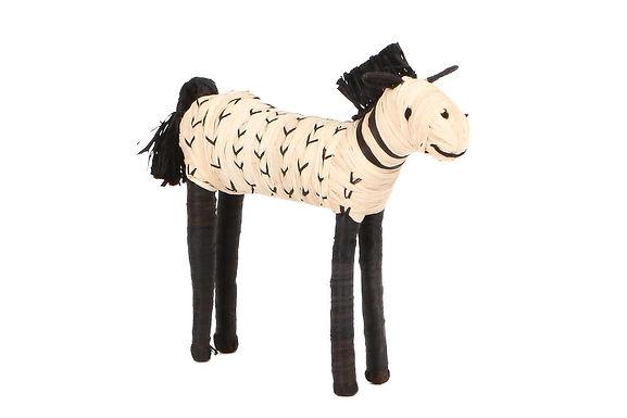 Black & Natural Raffia Horse Shelf Decor