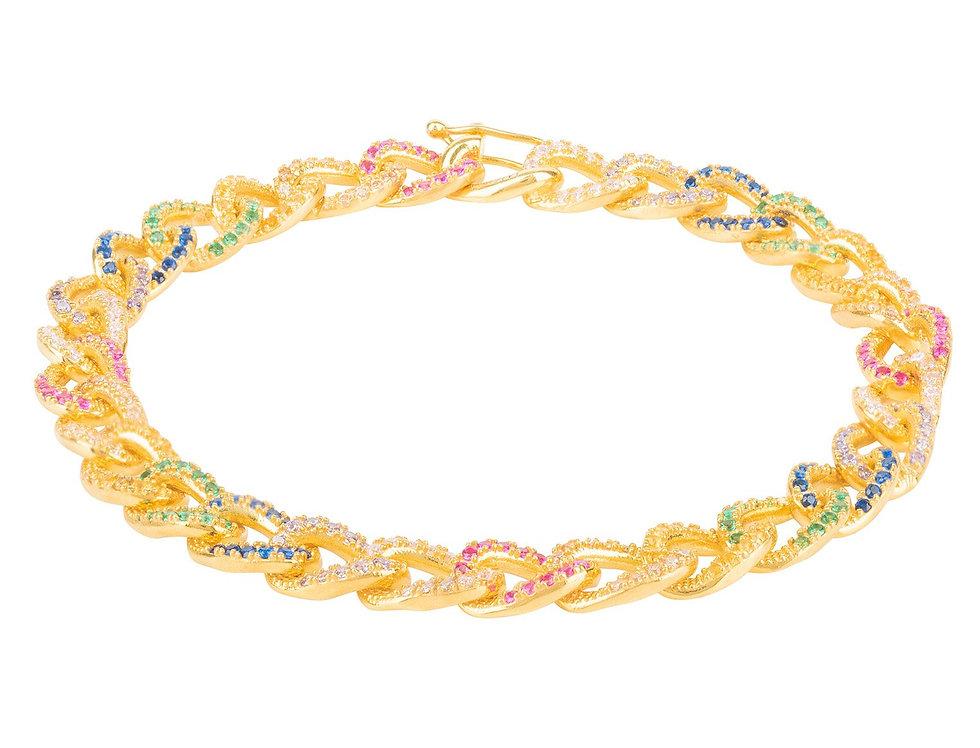 Rainbow Curb Chain Bracelet