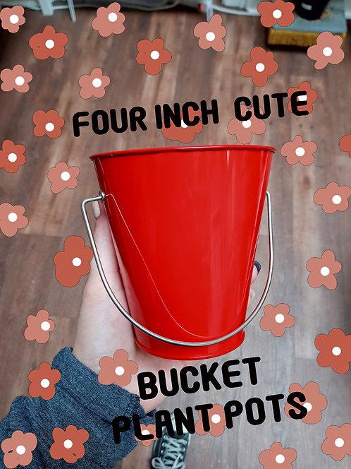 """4"""" Metal Bucket Plant Pots, Metal, Multi Colors, Unique, Cute, Drainage"""