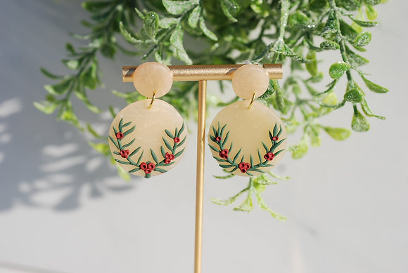 Holly Christmas Earrings