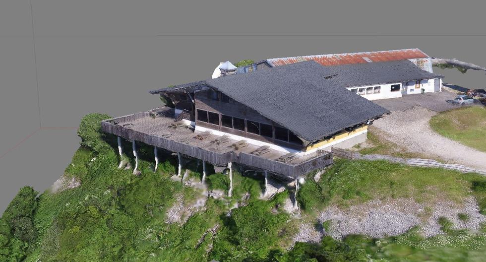 Photogrammetrie, modelisation 3D restaurant d'altitude le grand Tetras- ain- monts jura- oraedrone.com