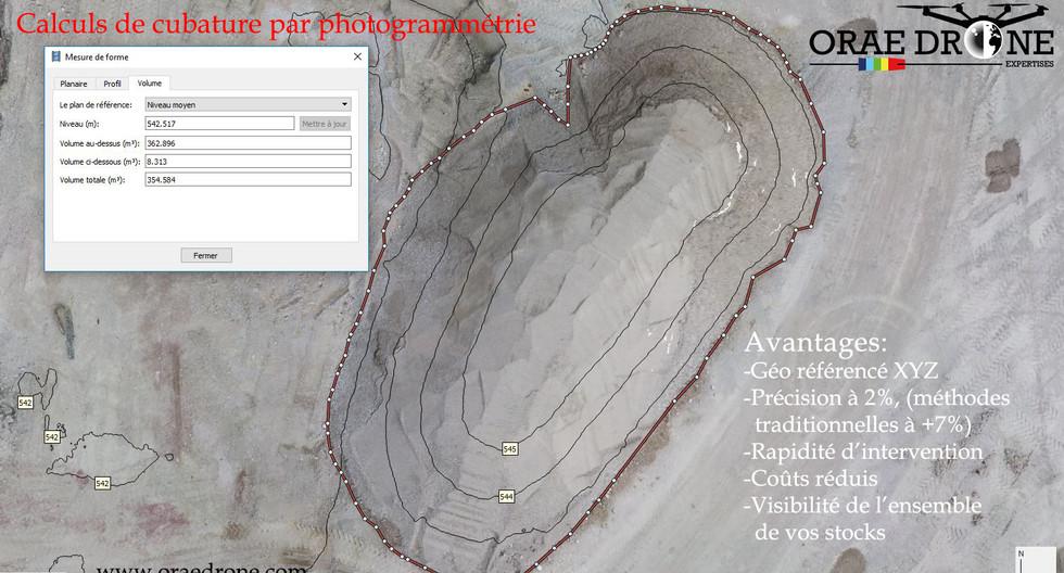 Calcul de cubature - Stock de granulats- Jura- Framche comté