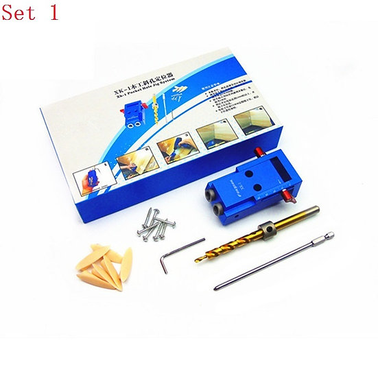 Mini Pocket Hole Jig Kit + Screwdriver + Step Drill Bit + Clamp + Wrench