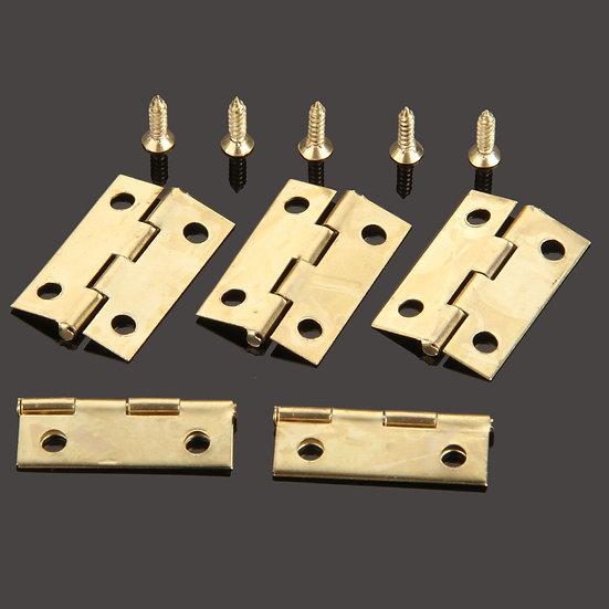 50Pcs 24*16mm Furniture Hinge Cabinet Drawer Door Butt Hinge Antique Gold