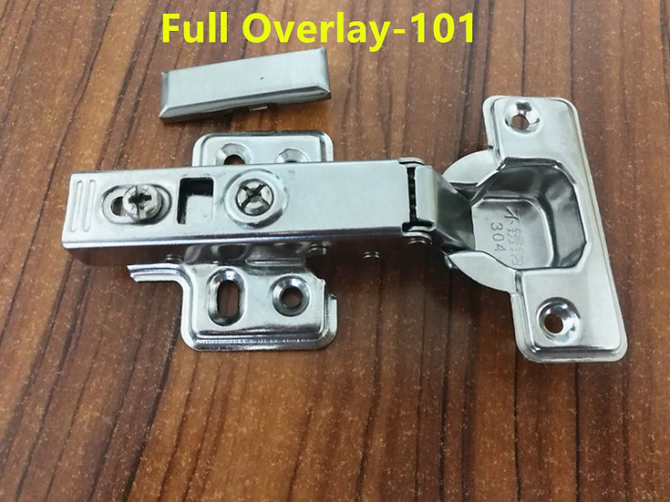 101 Full Overlay Stainless steel Hinges Hydraulic Damper Buffer Cabinet