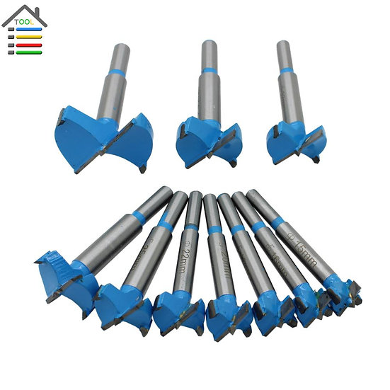 10pc 15-50mm Forstner Drill Bit Auger Drill Bits Set Wood Hole Saw Woodworking