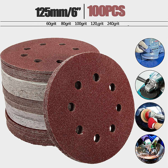 100pcs 125mm/5'' Orbit Sanding Polishing Sheet Sandpaper Round Shape Sander