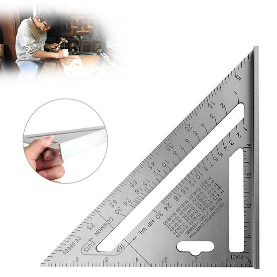 7inch Silver Aluminum Alloy Speed Square Roofing Triangle Angle Protractor