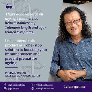 telomegenase, testimonial, reviews, cell therapy, anti-aging, telomerase, telomere supplement, Dr. Edward Chan