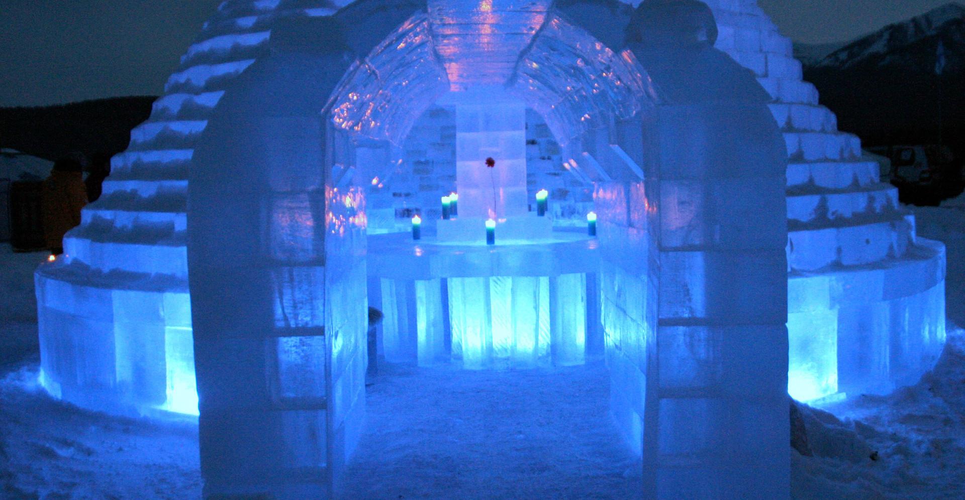 ice crystal frozen hotel on lake baikal