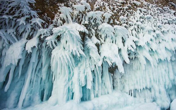 frozen rock in lake baikal