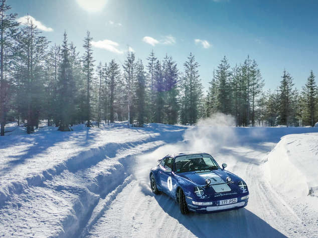 porsche 911 sliding on winter spiritofspeed  by tom kristensen