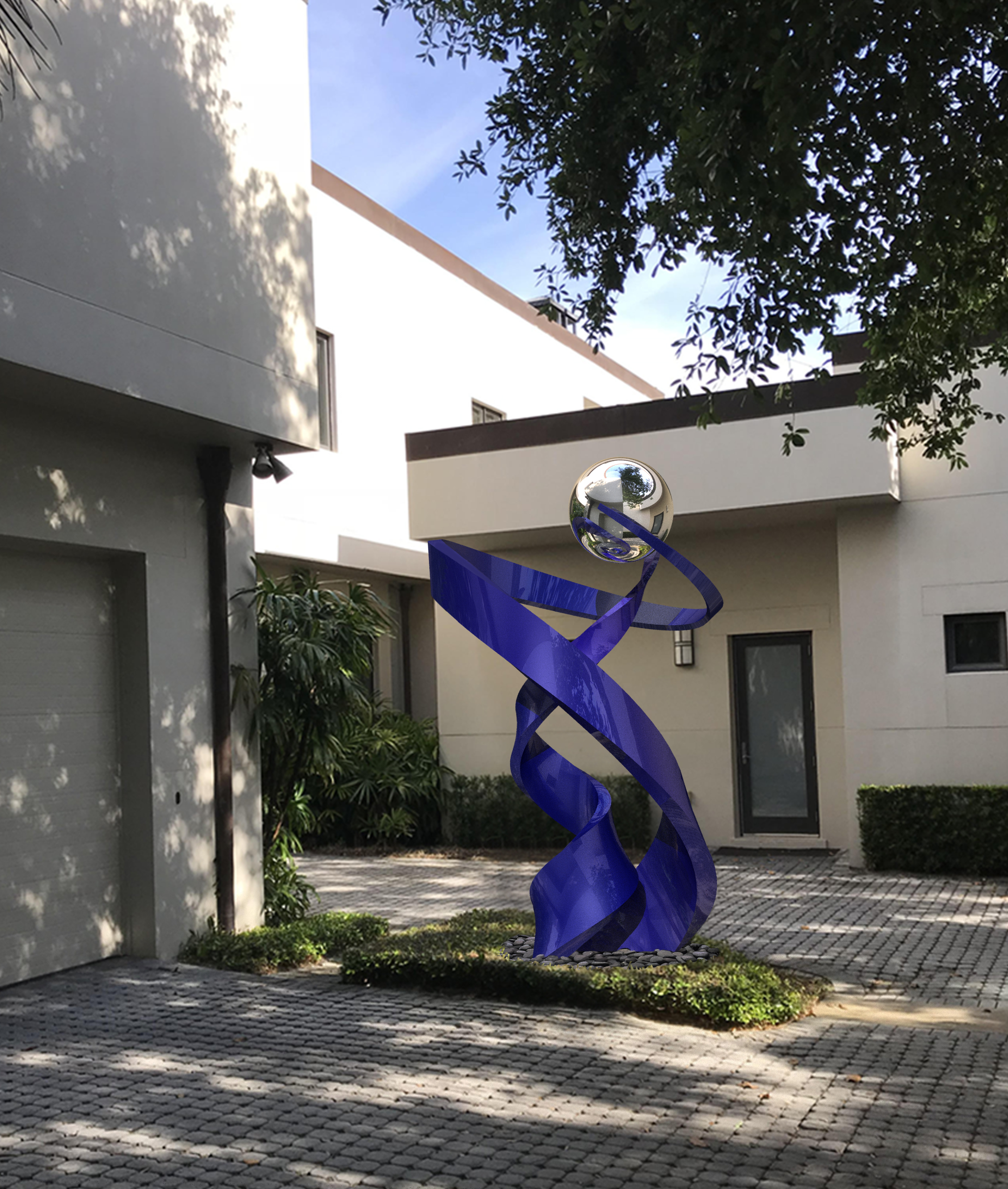 Modern Blue Sculpture