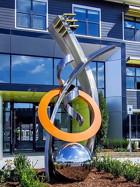 Modern stainless steel sculpture.