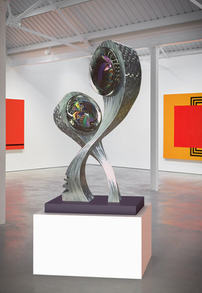 Surrealistic metal and glass sculpture