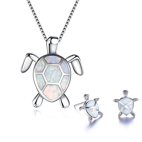 Classic Sea Turtle Necklace Earrings Jewelry Set