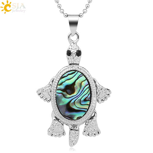 CSJA Trutle Abalone Shell Tortoise Pendant Necklace