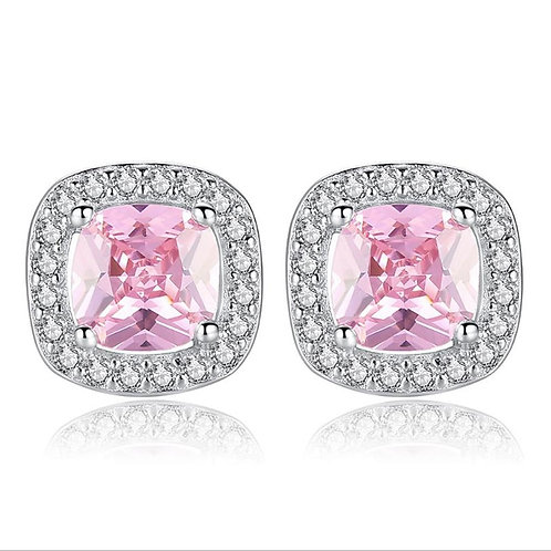 Pure 925 Sterling Silver Pink & Clear Gem Stud Earrings for