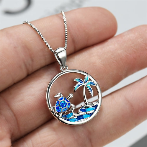 Turtle and Palm Tree Pendant Necklaces
