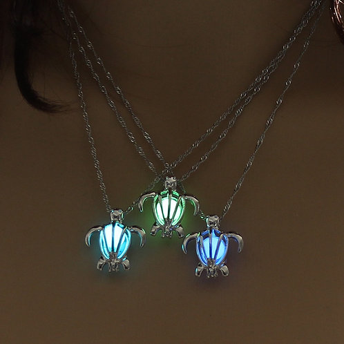 Glowing In The Dark Sea Turtle Silver Necklace