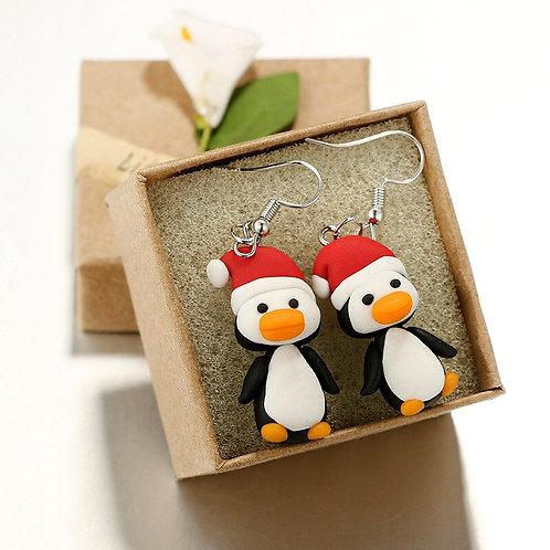Christmas Penguin Hand-Made Soft Pottery Eardrop Earrings