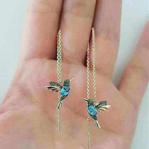 Huitan Little Bird Drop Long Hanging Earrings