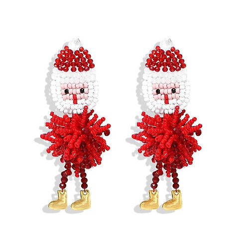 Handmade Beaded Drop Christmas Santa Claus Earrings