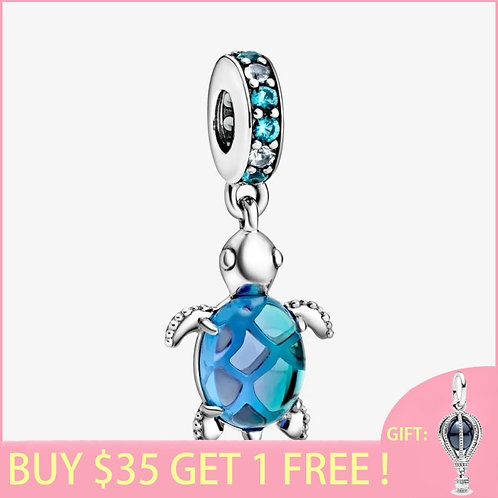 2020 Summer New S925 Sterling Silver Bead Murano Glass Sea Turtle Dangle Charms