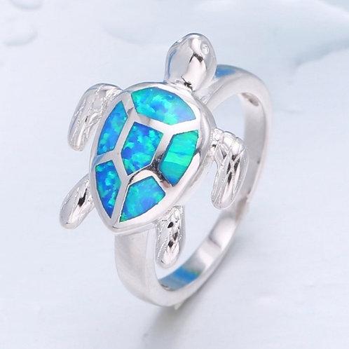 Blue Opal Sea Turtle Ring