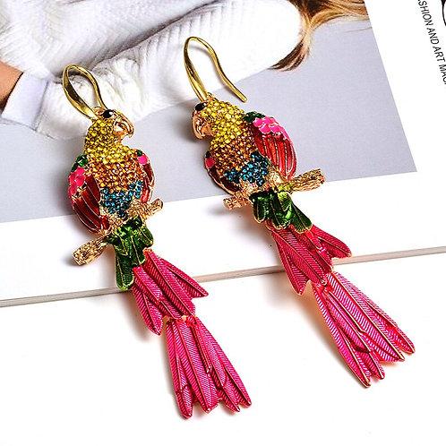 Statement Parrot Tassel Earrings