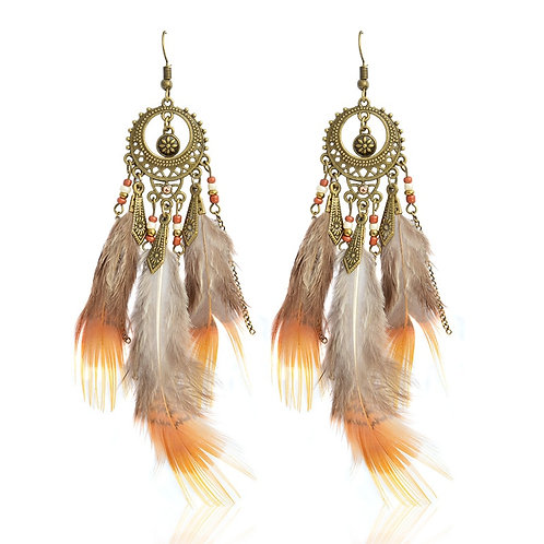 Vintage Bohemian Boho Bird Feather Drop Earrings