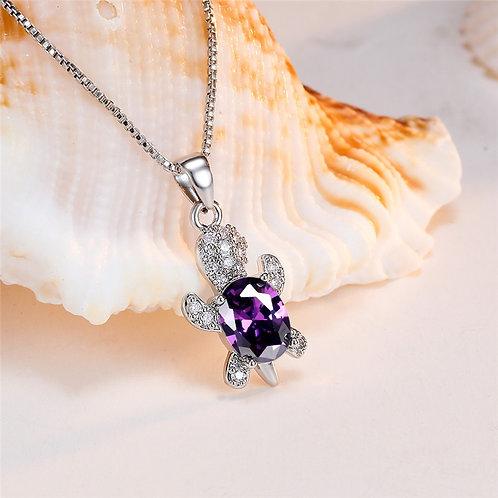 Purple Oval Stone Turtle Pendants Necklaces
