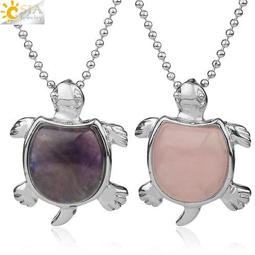 CSJA Natural Stone Turtle Pendant Necklace