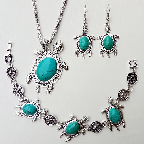 Vintage Sea Turtle Jewelry Set
