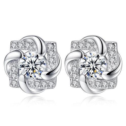 925 Sterling Silver CZ Zircon Flower Stud Earrings