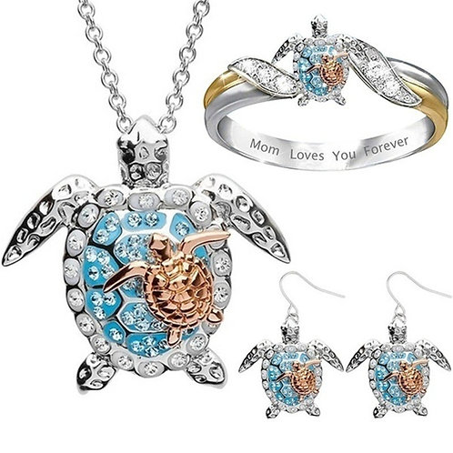 Sea Turtle Jewelry Set Earrings Ring Necklace
