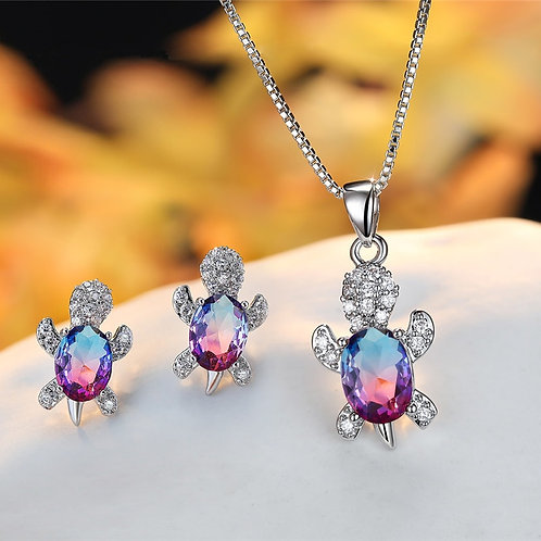 Turtle Stud Earrings and Chain Necklaces Jewelry Sets Crystal Stone Bridal Set