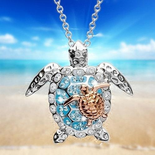 Zircon Turtle Necklaces Rose Gold
