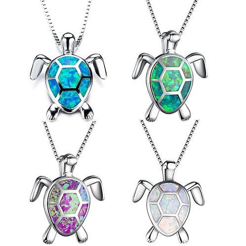 Opal Sea Turtle Pendant Necklace