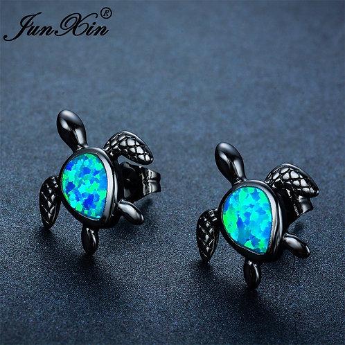 Sea Turtle Blue Fire Opal Stud Earring