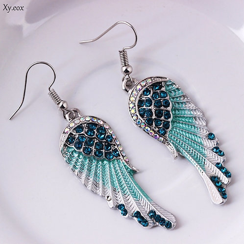 Tri-Colors Angel Wings Feather Crystal Earrings