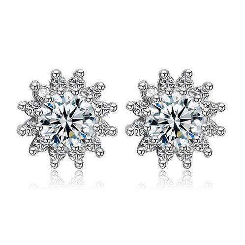 925 Sterling Silver Zircon Flower Stud Earrings