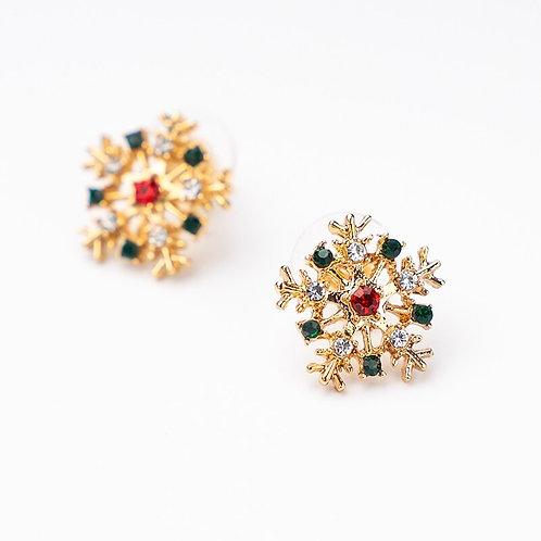 Cute Gold Color Snowflake Christmas Stud Earrings