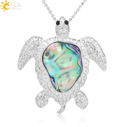 Natural Abalone Shell Animal Sea Turtle Necklace