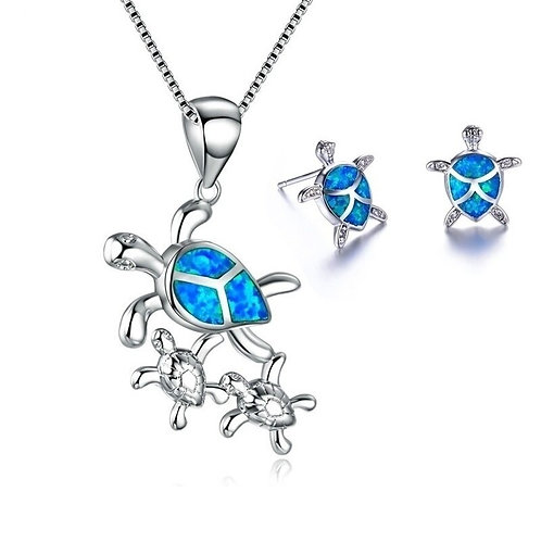 Sea Turtle Mother and Turtle Baby Pendant Necklace Set