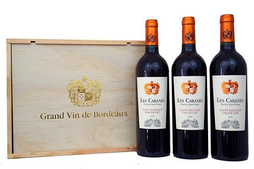 """3er Holzkiste """"Grand Vin de Bordeaux"""", Les Cabanes 3 x 0,75l - (24,44€/1l)"""