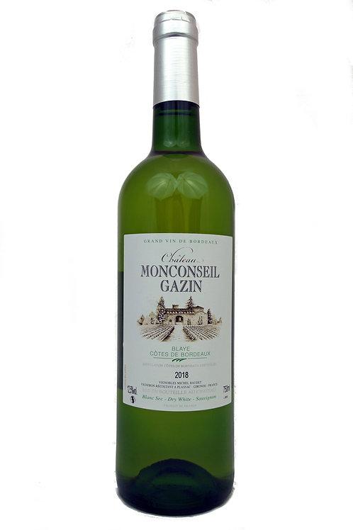 2020 Ch Monconseil Gazin, Blaye, 0,75l Côtes de Bordeaux blanc sec (9,67€/1l)