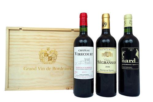 """3er Holzkiste """"Grand Vin de Bordeaux"""" 3 x 0,75l - (17,67€/1l)"""
