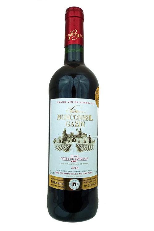 2016 Ch Monconseil Gazin, 0,75l Blaye, Côtes de Bordeaux (11,33€/1l)